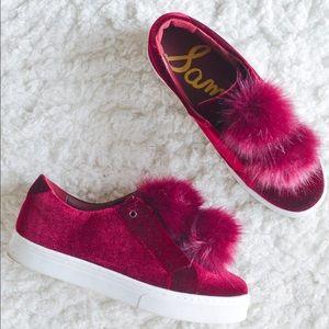 Sam Edelman Pom Sneakers in Burgundy Velvet 10